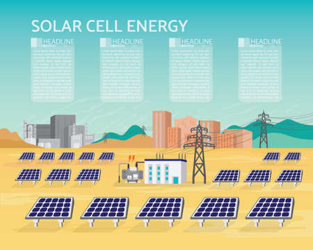 Solar cell power plant with photo electric cell generate. The electric supply to the city and industrial.