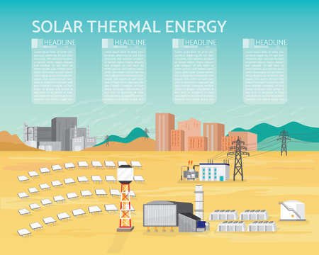 solar thermal power plant, solar thermal energy with turbine generate the electric to the city and industrial  イラスト・ベクター素材
