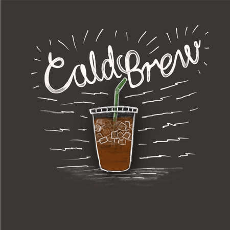 cold brew and a cup of coffee in style lettering on black background Çizim