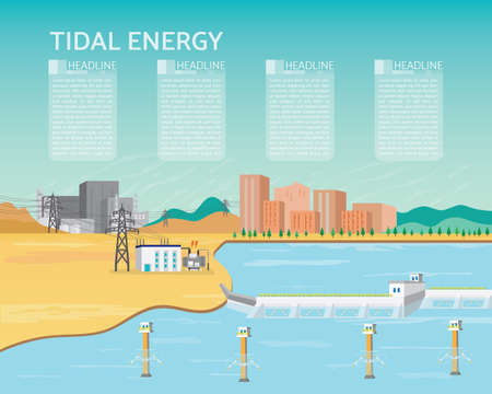 tidal power plant, tidal energy with turbine generate the electric to the city and industrial Illustration