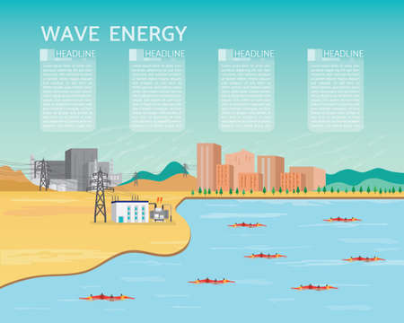 wave power plant, wave energy with turbine generate the electric to the city and industrial