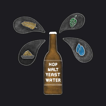 beer bottle with water, malts, hops and yeast icon Çizim