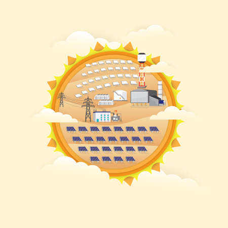 solar cell power plant and solar thermal power plant generate the electric graphic on the sun background