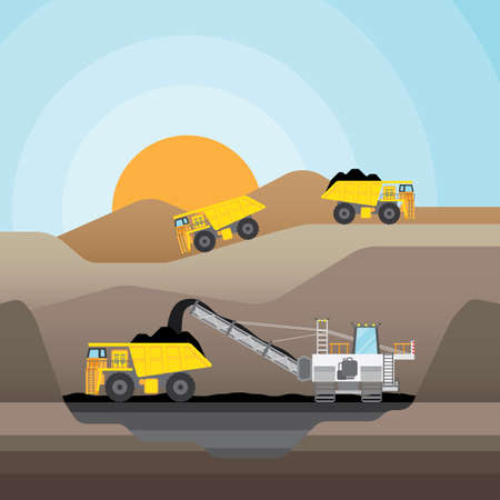 Coal mining at an open pit with coal truck.