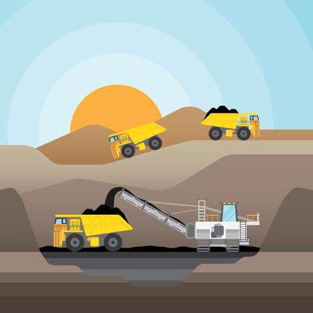Wydobywanie węgla w kopalni odkrywkowej z ciężarówki węgla. Ilustracje wektorowe