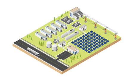 hydrogen microgrid with solar cell in isometric graphic