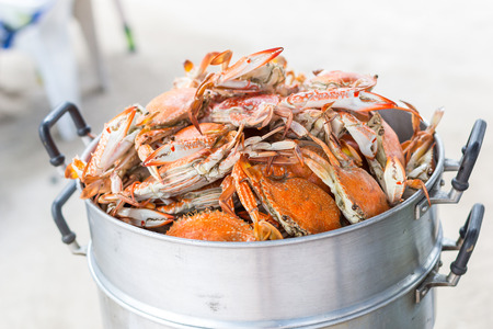 crab pot: Steamed crab on the steaming pot Stock Photo