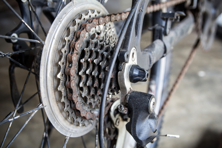 rusty chain: Rusty chain of mountain bike