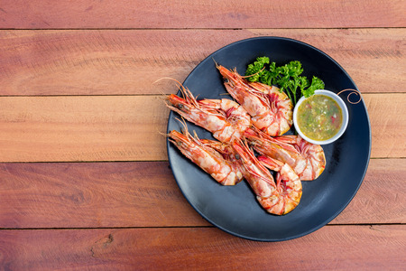 Grilled shrimp with seafood spicy sauce Stock Photo