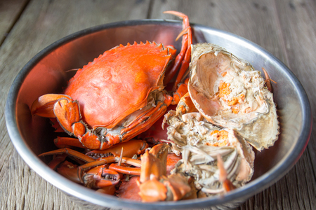 Steamed Sea Crabs Stock Photo