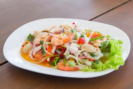seafood spicy salad , thai spicy salad