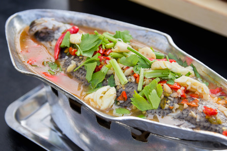 Steamed snapper fish with lemon , Spicy thai food