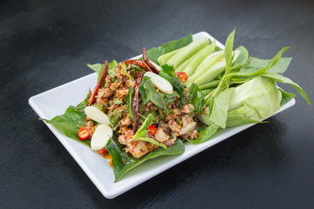 Spicy duck salad , Thai Food Stock Photo