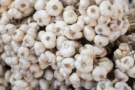 Fresh garlic in market , Organic garlic vegetable , Food background Reklamní fotografie