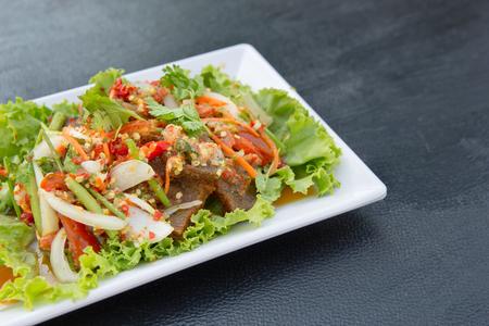 Crispy pork spicy salad , Thai Food