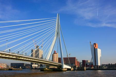 meuse: Panoramic view of Meuse River and Erasmus bridge in Rotterdam Stock Photo