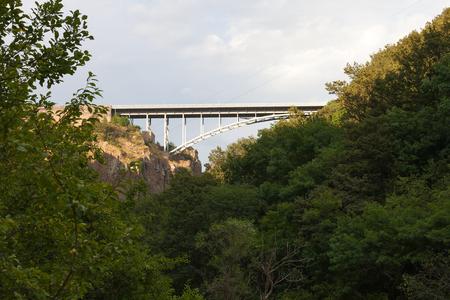 De helft van de boogvormige brug over groene bomen
