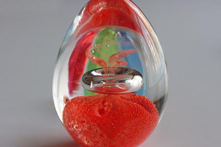 Abstract ontwerp in een ovaal kristalglasei Stockfoto