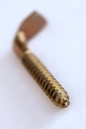 Enige roestvrije gouden vastgehaakte schroef gedeeltelijk vaag op witte achtergrond Stockfoto