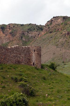Weergave van verwoeste Tapi fort van Gevorg Marzpetuni omgeven door groene bergen