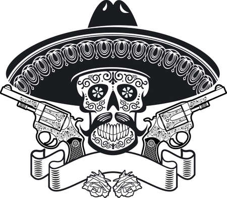 mexican sugar skull with sombrero, roses, guns and banner