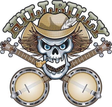 hillbilly skull with crossed banjos Vector Illustration