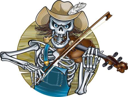 human skeleton playing violin