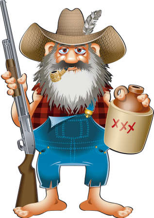 cartoon caricature of hillbilly with shotgun