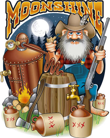 cartoon caricature of hillbilly with moonshine distillery