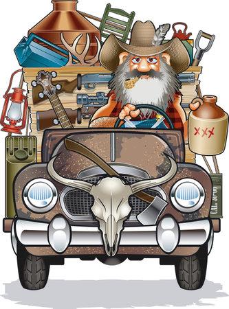 cartoon caricature of hillbilly in rusty truck Vector Illustration