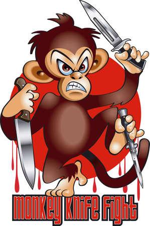 cartoon style monkey holding three knifes Vektorové ilustrace