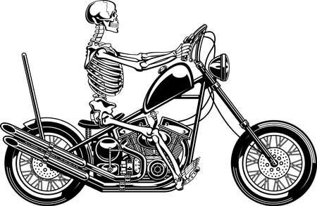 human skeleton driving motorcycle