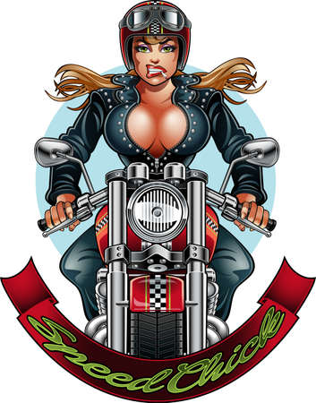 beautiful woman driving on a motorcycle