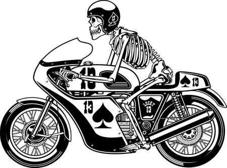 human skeleton driving motorcycle Ilustración de vector