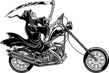 grim reaper with scythe riding motorcycle
