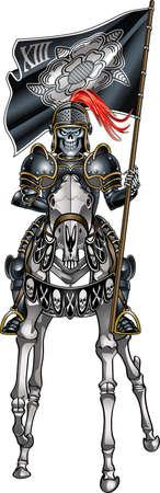 Tarot card style skeleton knight, symbol of death
