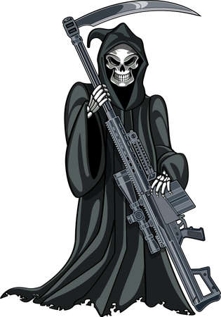 grim reaper with gun Vettoriali