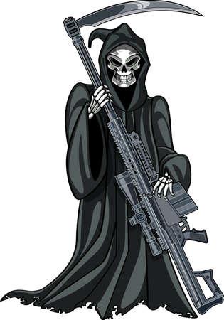 grim reaper with gun Ilustração Vetorial