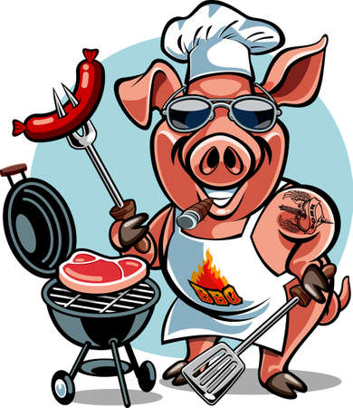 cartoon pig chef bbq grill cooking Ilustração Vetorial