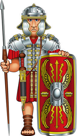 roman legionnaire soldier with spear and shield Ilustração Vetorial