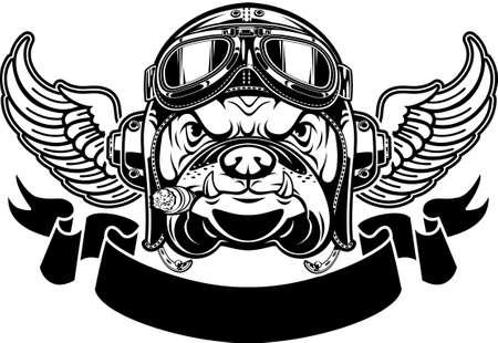 dog with Leather Flying Helmet and goggles Ilustração Vetorial