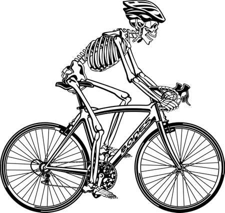 human skeleton riding bicycle