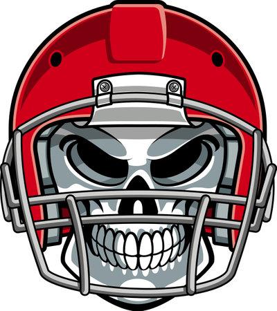 skull wearing american football helmet Ilustración de vector