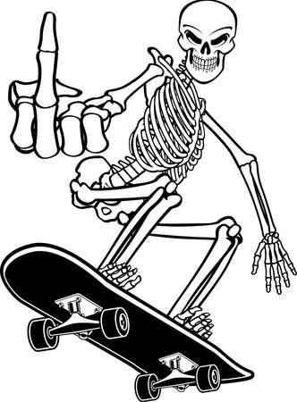 Human Skeleton Skateboarding Vektorgrafik