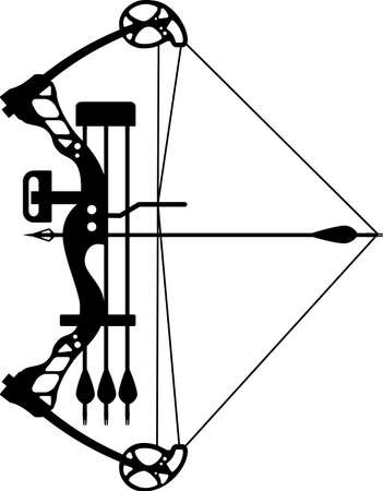 compound bow and hunting arrow Vetores