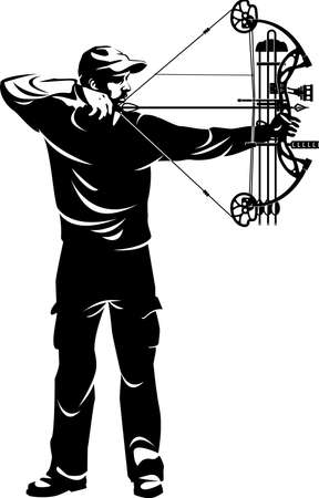 bow hunter aiming with compound bow Vetores