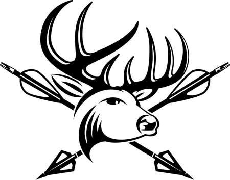 hunting trophy deer head skull with hunting arrows Vector Illustratie