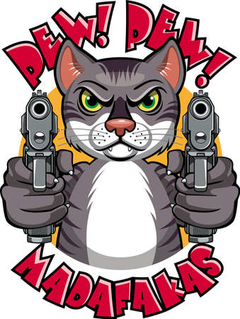 cartoon cat pointing with two pistols
