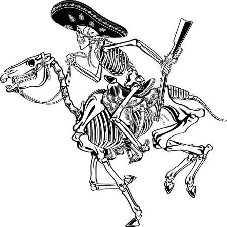 human skeleton with sombrero riding on a skeleton horse