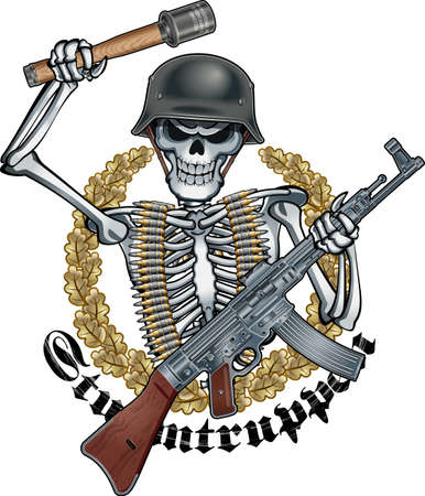 Human skeleton with steel helmet, and stick hand grenade